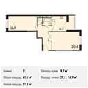 Планировка 2-комн. квартиры 61,40 м2