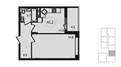 Планировка 1-комн. квартиры 41,00 м2
