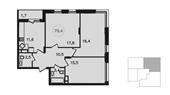 Планировка 3-комн. квартиры 79,00 м2