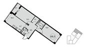 Планировка 3-комн. квартиры 69,00 м2