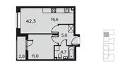Планировка 1-комн. квартиры 42,00 м2