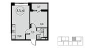 Планировка 1-комн. квартиры 38,00 м2
