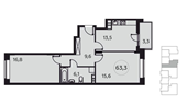 Планировка 2-комн. квартиры 63,00 м2