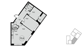 Планировка 3-комн. квартиры 71,00 м2