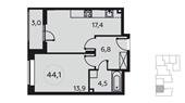 Планировка 1-комн. квартиры 44,00 м2