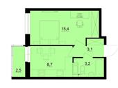 Планировка 1-комн. квартиры 31,20 м2