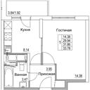 Планировка 1-комн. квартиры 31,86 м2