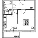 Планировка 1-комн. квартиры 37,66 м2