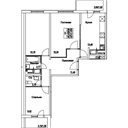 Планировка 3-комн. квартиры 73,21 м2