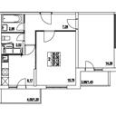 Планировка 2-комн. квартиры 53,13 м2