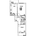 Планировка 2-комн. квартиры 55,95 м2