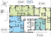 Планировка 2-комн. квартиры 75,34 м2