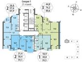 Планировка 1-комн. квартиры 39,50 м2