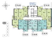 Планировка 1-комн. квартиры 38,60 м2