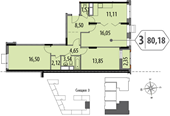 Планировка 3-комн. квартиры 79,01 м2