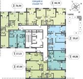 Планировка 1-комн. квартиры 44,86 м2