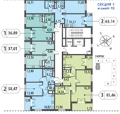 Планировка 1-комн. квартиры 36,89 м2