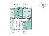 Планировка 1-комн. квартиры 41,74 м2