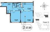 Планировка 2-комн. квартиры 67,89 м2
