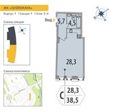Планировка 1-комн. квартиры 38,50 м2