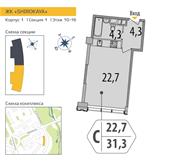 Планировка 1-комн. квартиры 31,40 м2