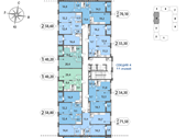 Планировка 2-комн. квартиры 71,58 м2