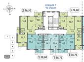 Планировка 3-комн. квартиры 74,35 м2