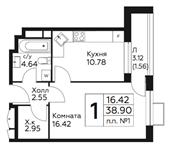 Планировка 1-комн. квартиры 38,90 м2