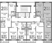 Планировка 2-комн. квартиры 58,50 м2