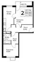 Планировка 2-комн. квартиры 60,63 м2