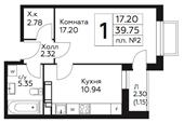 Планировка 1-комн. квартиры 39,75 м2