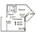 Планировка 1-комн. квартиры 49,94 м2