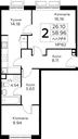 Планировка 2-комн. квартиры 58,96 м2