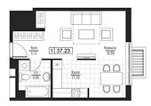 Планировка 1-комн. квартиры 37,23 м2