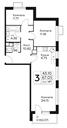 Планировка 3-комн. квартиры 67,04 м2