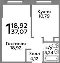 Планировка 1-комн. квартиры 37,07 м2
