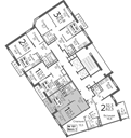 Планировка 1-комн. квартиры 38,80 м2