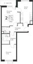 Планировка 2-комн. квартиры 61,76 м2