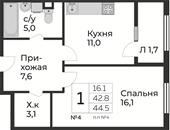 Планировка 1-комн. квартиры 44,50 м2