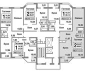 Планировка 2-комн. квартиры 68,63 м2