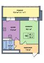 Планировка 1-комн. квартиры 46,00 м2