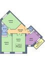 Планировка 3-комн. квартиры 87,00 м2