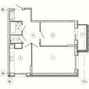 Планировка 2-комн. квартиры 56,60 м2