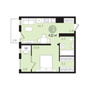 Планировка 1-комн. квартиры 42,20 м2