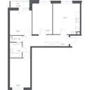 Планировка 3-комн. квартиры 70,02 м2