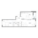 Планировка 2-комн. квартиры 55,57 м2
