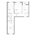 Планировка 3-комн. квартиры 72,19 м2