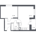 Планировка 1-комн. квартиры 44,07 м2