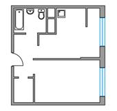 Планировка 1-комн. квартиры 32,07 м2