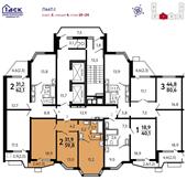 Планировка 2-комн. квартиры 59,80 м2
